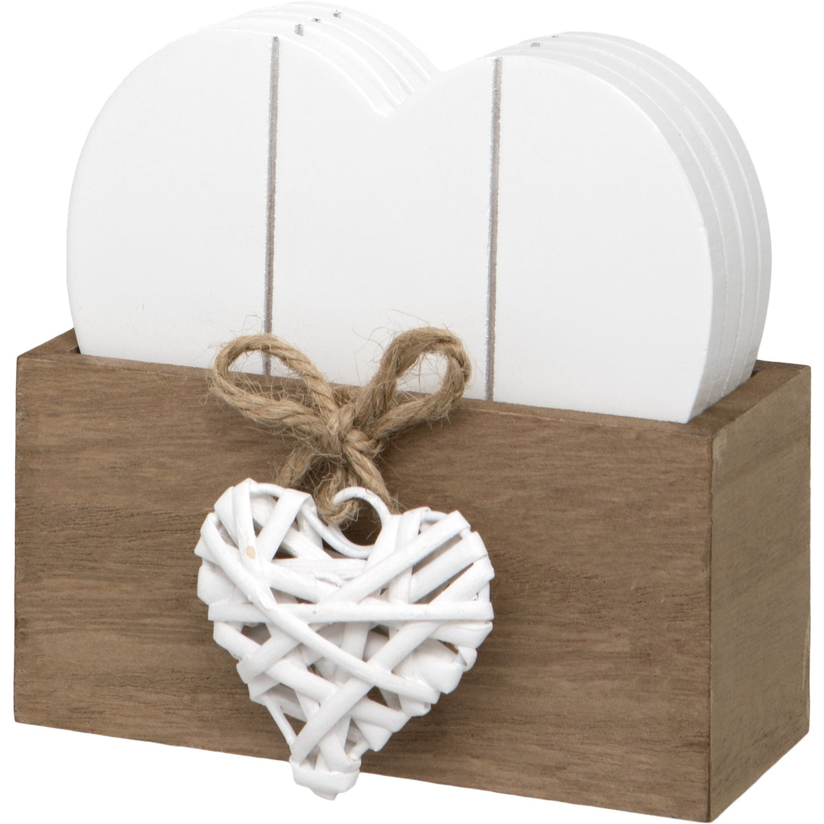 Woven Heart Design Set of 4 Wooden Heart Shaped Coasters with Stand