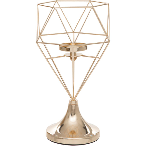 Large Gold Geometric Design Tealight Holder
