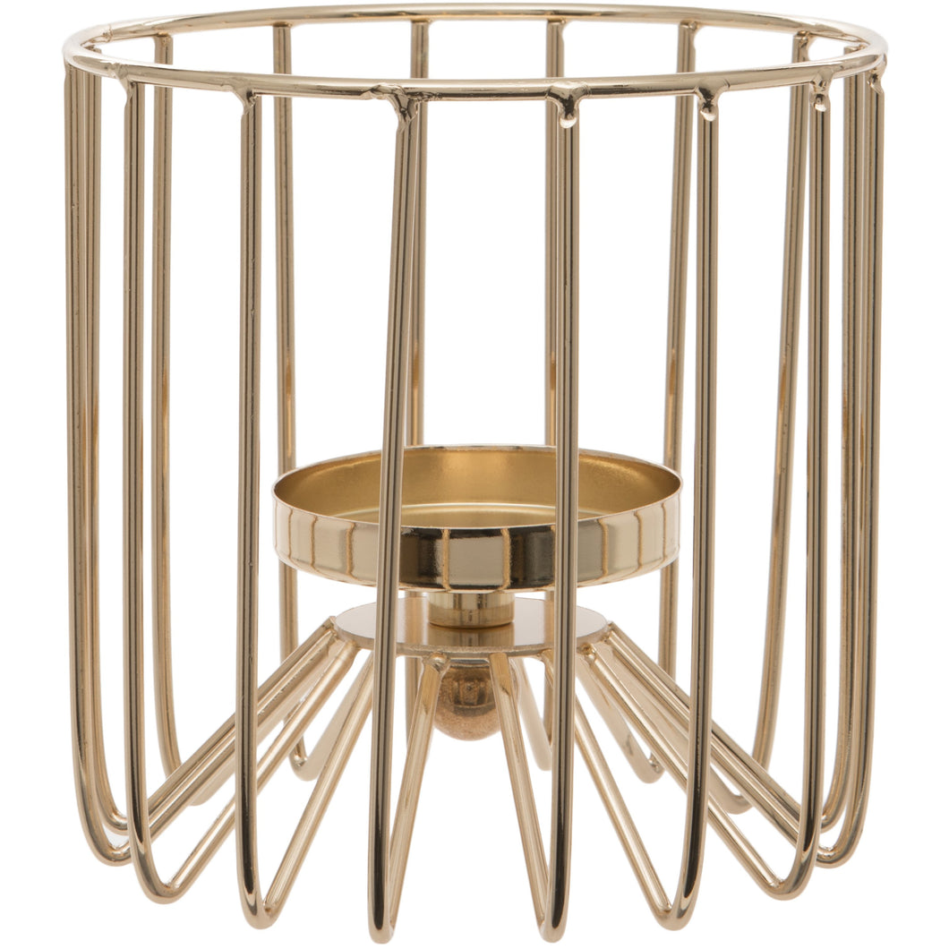 Gold Cylindrical Tealight Holder