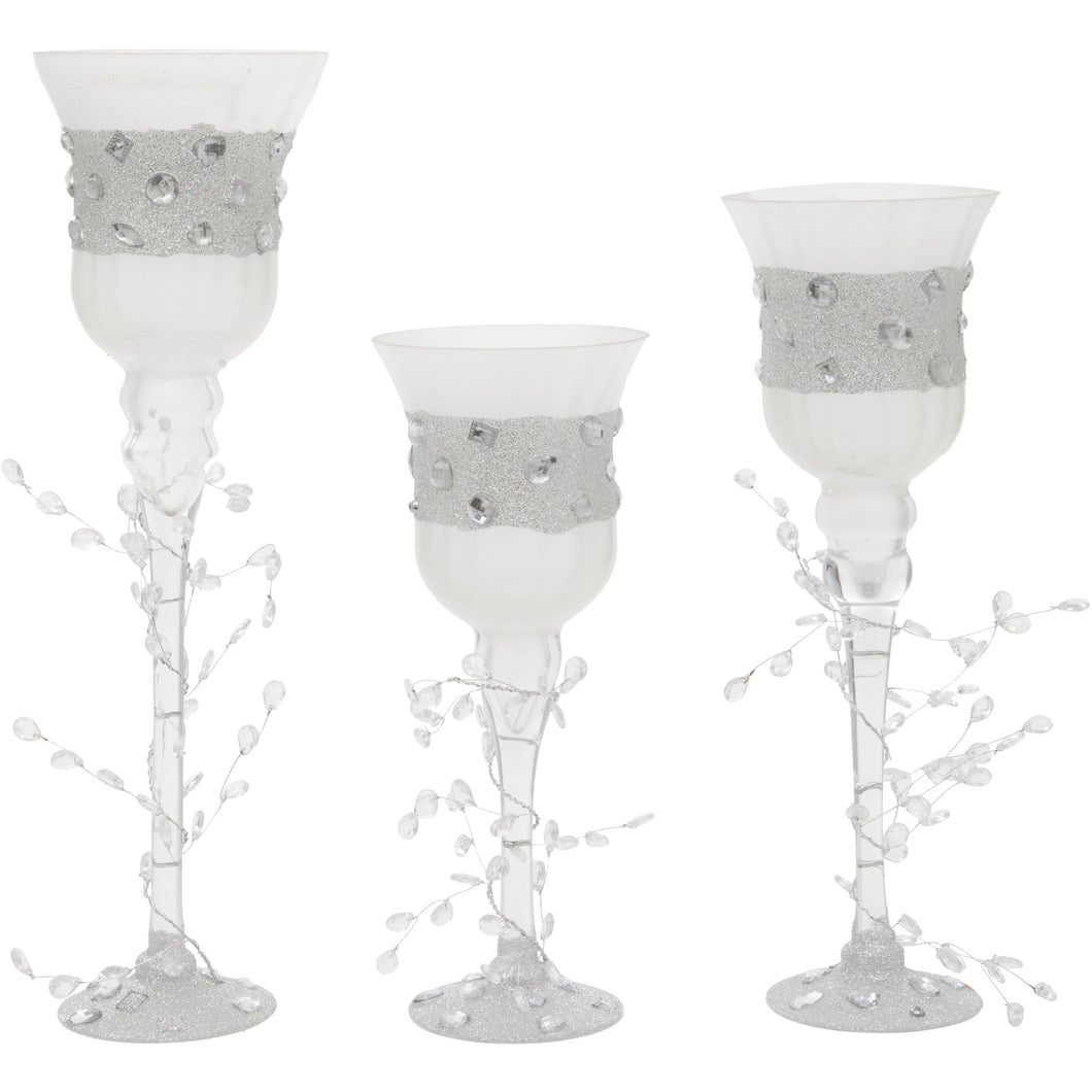 Set of Three White Glass Goblet Style Candle Holders with Jewels