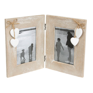 Sass and Belle Double Wooden Standing Photo Frame