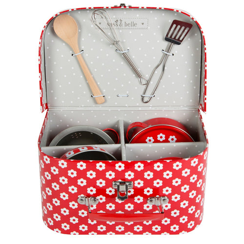 Sass and Belle Red Daisies Play Cooking Set