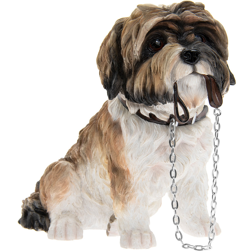 Brown and White Sitting Shihtzu Ornament