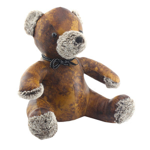 Brown Faux Leather Teddy Doorstop