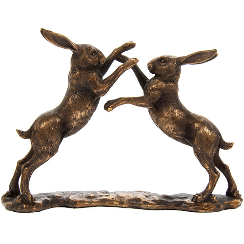 Bronzed Fighting Hare Figurine