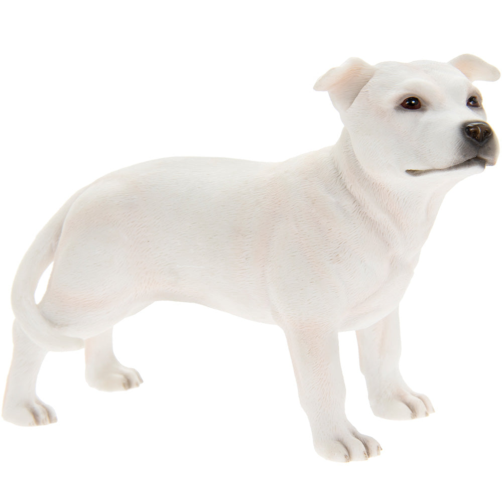 White Standing Staffordshire Bull Terrier Ornament