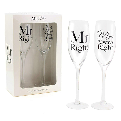 Mr Right & Mrs Always Right Champagne Flutes