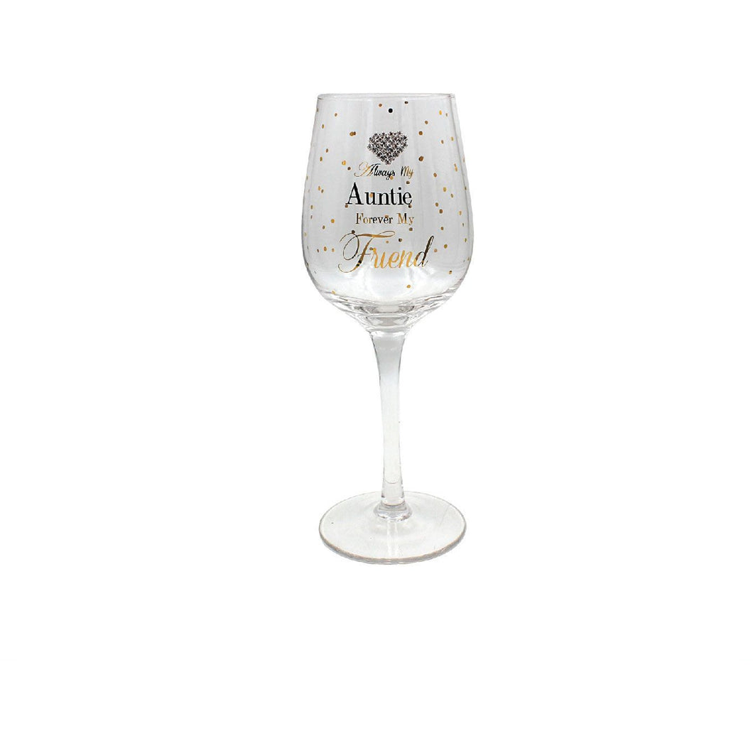 Mad Dots Auntie Wine Glass