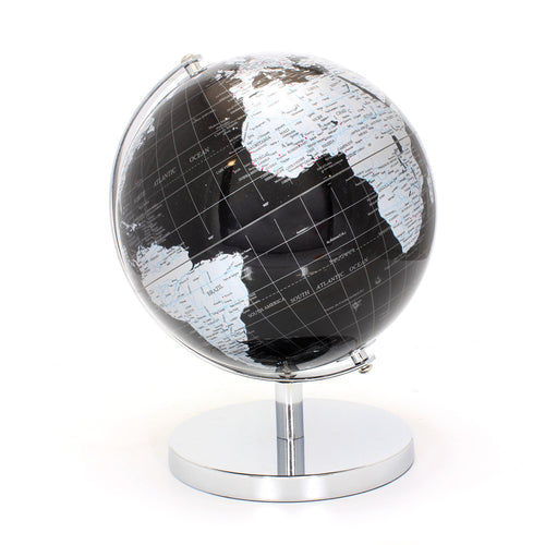 Black and Silver World Globe 27cm