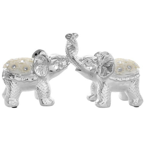 Silver Millie Pair of Elephants Interlocking Trunks