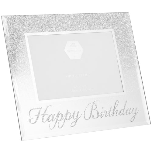 Happy Birthday Silver Glitter Photo Frame