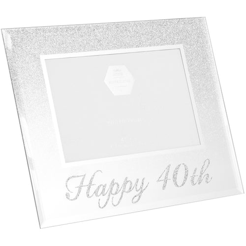 40th Birthday Silver Glitter Photo Frame
