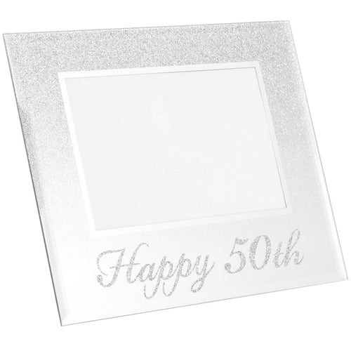 50th Birthday Silver Glitter Photo Frame