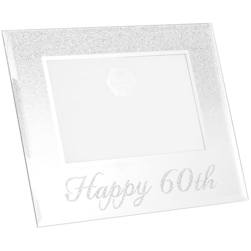 60th Birthday Silver Glitter Photo Frame