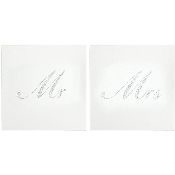Mirror Glass and Silver Glitter Mr & Mrs Coasters