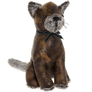 Brown Faux Leather Cat Doorstop