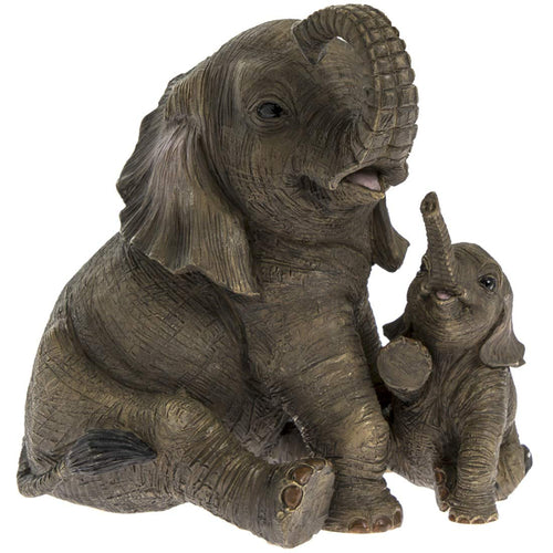 Sitting Elephant and Calf Figurine