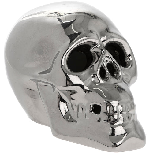 Silver Chrome LED Multicoloured Light Up Skull