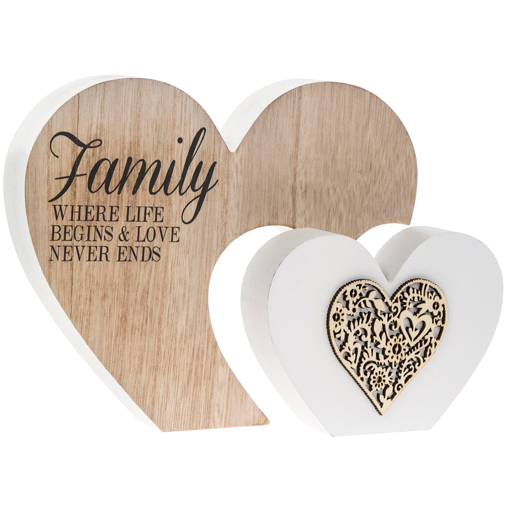 Double Heart Family Sentiment Gift