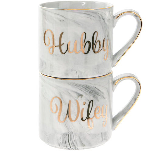 Hubby and Wifey Grey Marble Mug Set