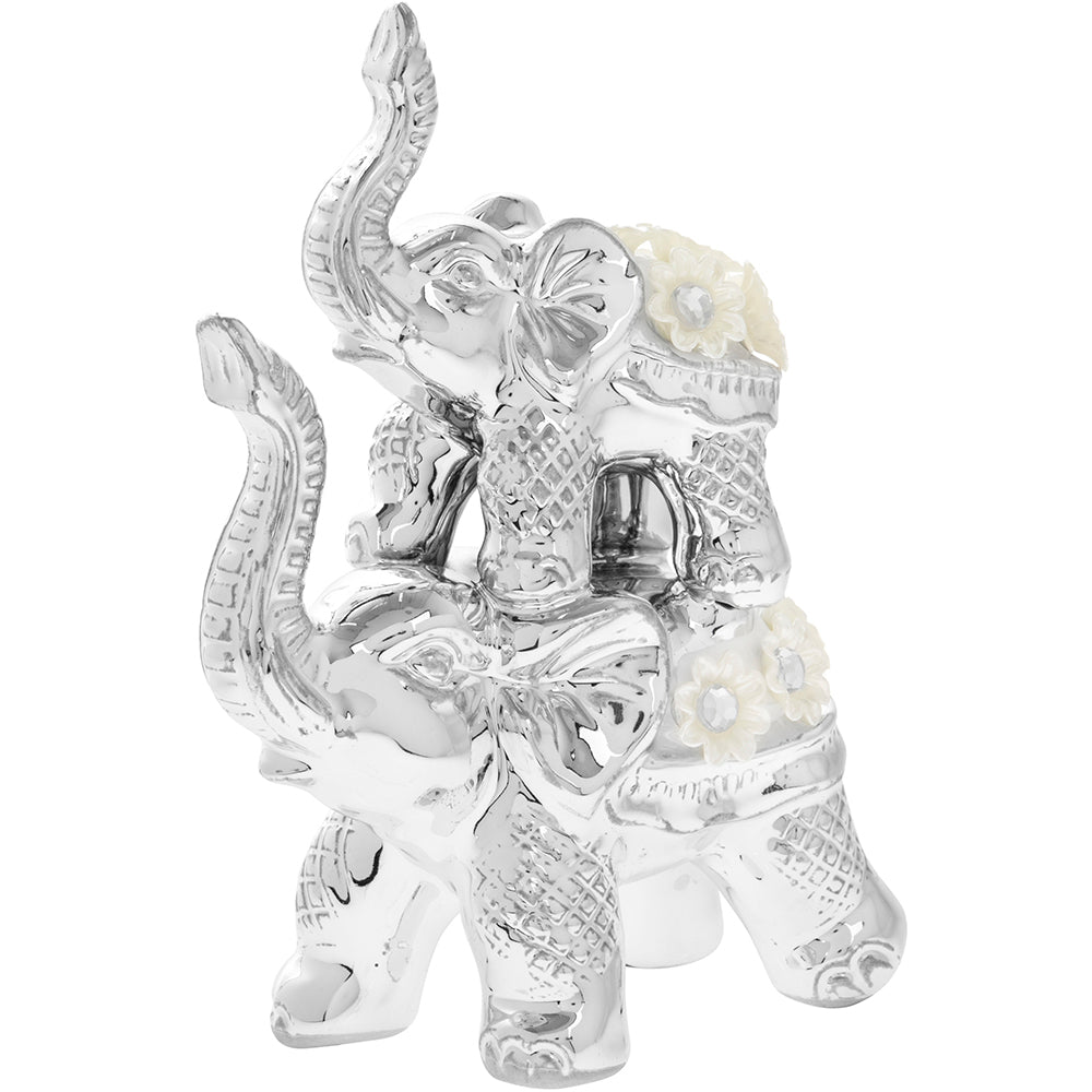 Silver Millie Elephant and Calf Figurine