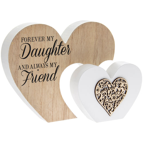 Double Heart Daughter Sentiment Gift