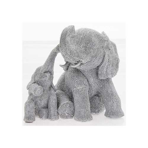 Diamante Sitting Elephant and Calf Figurine