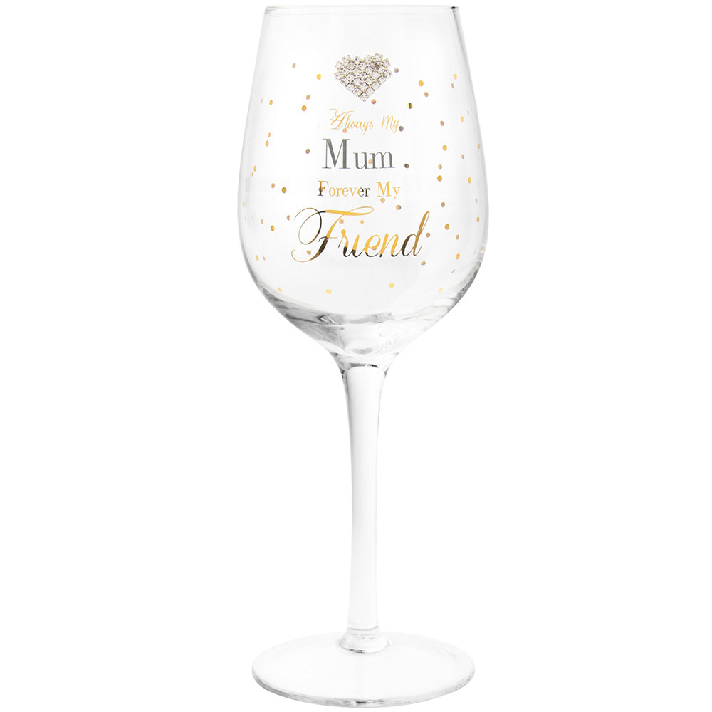 Mad Dots Mum Heart Detailing Wine Glass