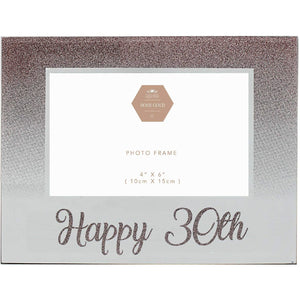 30th Birthday Rose Gold Glitter Photo Frame