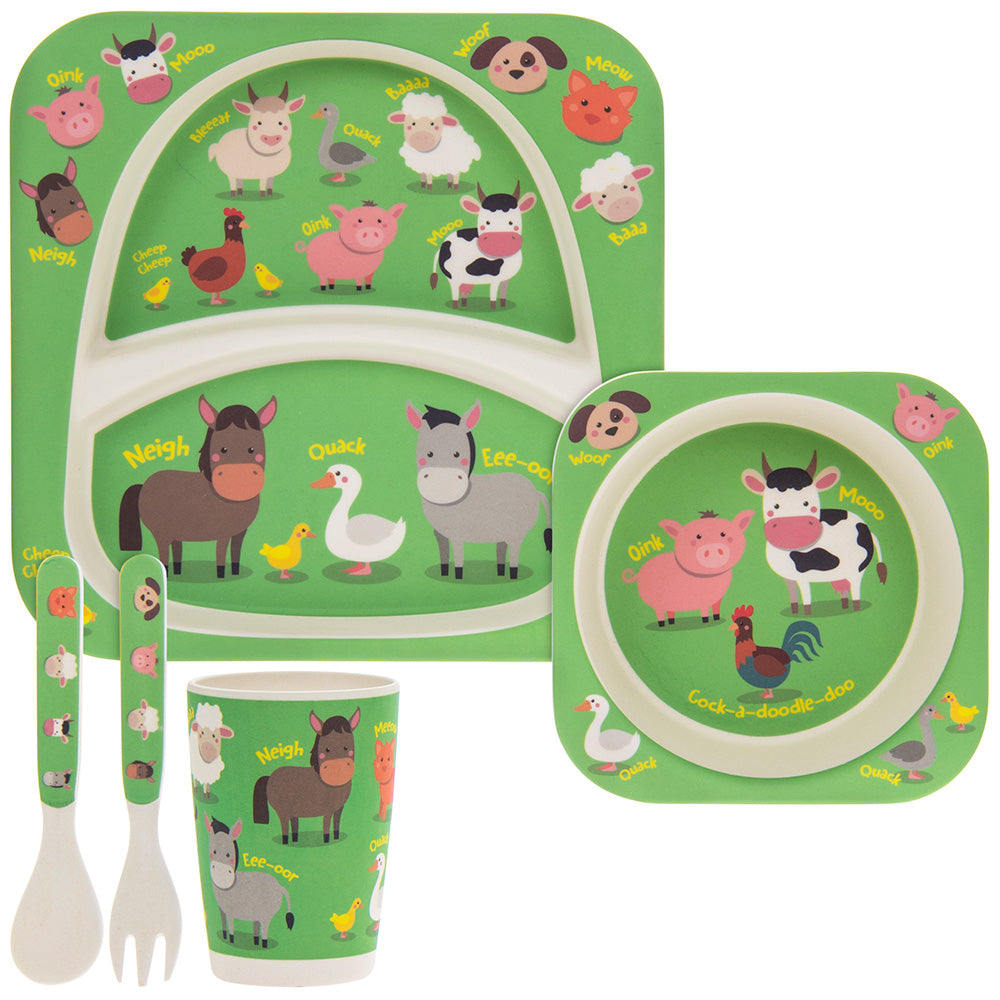 Animal Farm Bamboo Eco-Friendly 5 Piece Dinner Set