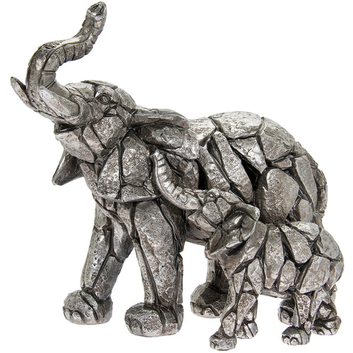 Silver Elephant and Calf Figurine