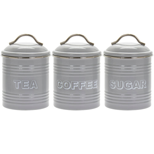 Vintage Grey Tin Tea Coffee Sugar Canisters