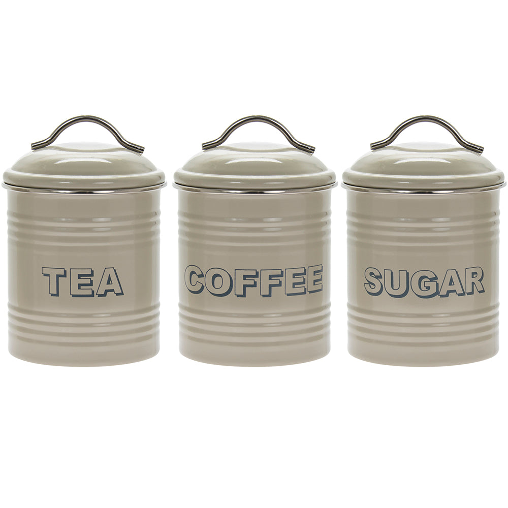 Vintage Sage Tin Tea Coffee Sugar Canisters