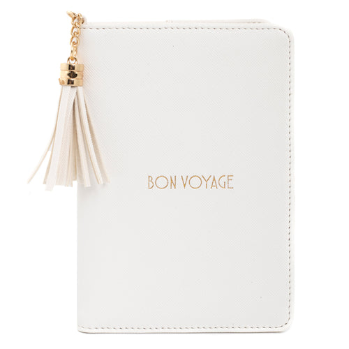 Shiny White Passport Holder -  Bon Voyage