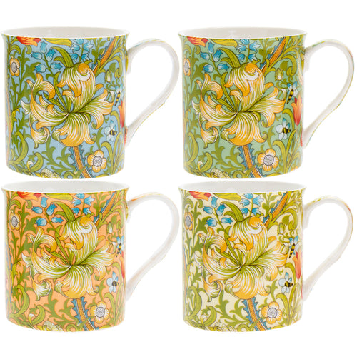 William Morris Golden Lily Fine China Mugs Set of Four