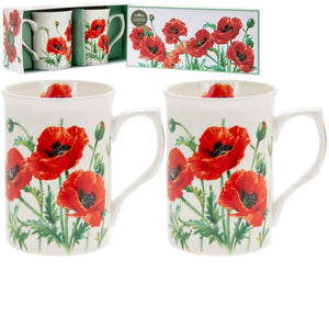 Set of 2 Poppy Design Fine China Mugs