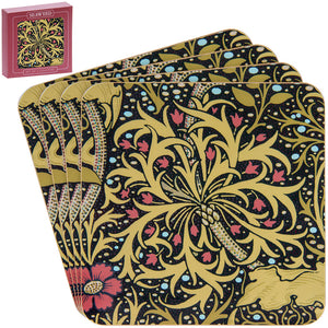 William Morris Seaweed Design Set of 4 Coasters