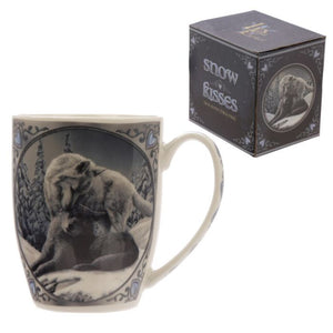Lisa Parker Snow Kisses Wolf Design Bone China Mug