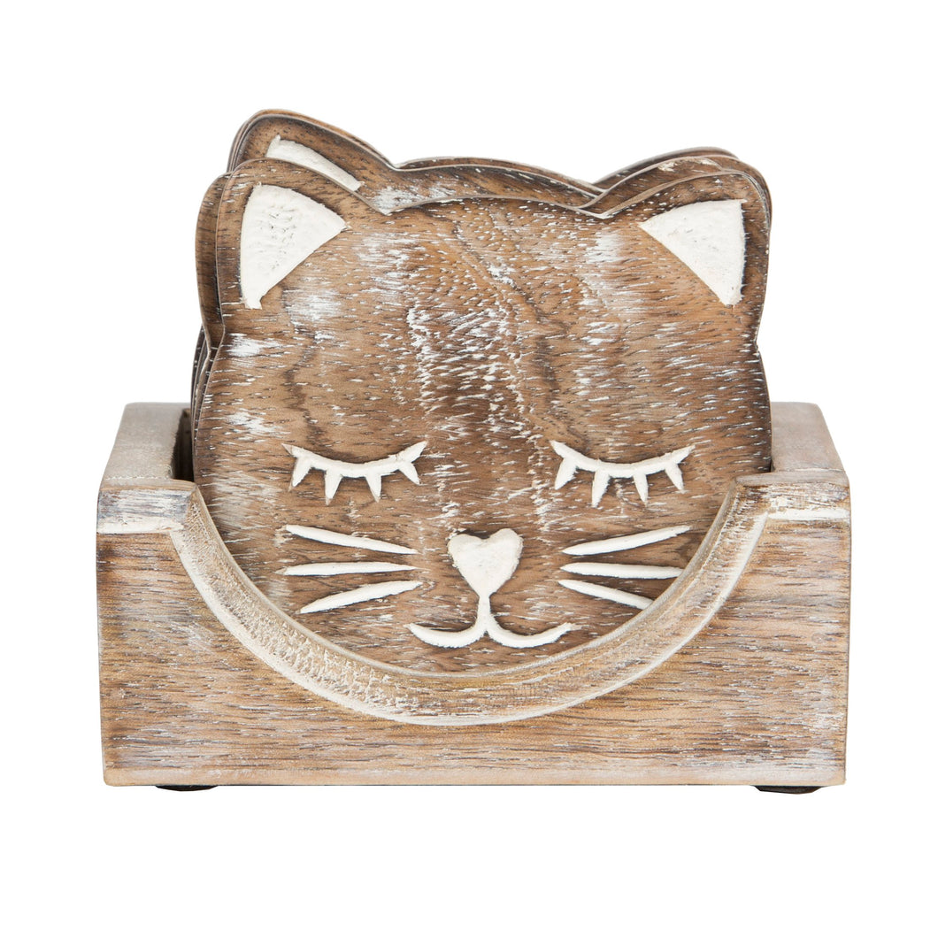 Set of 6 Wooden Cat Shaped Coasters In Holder