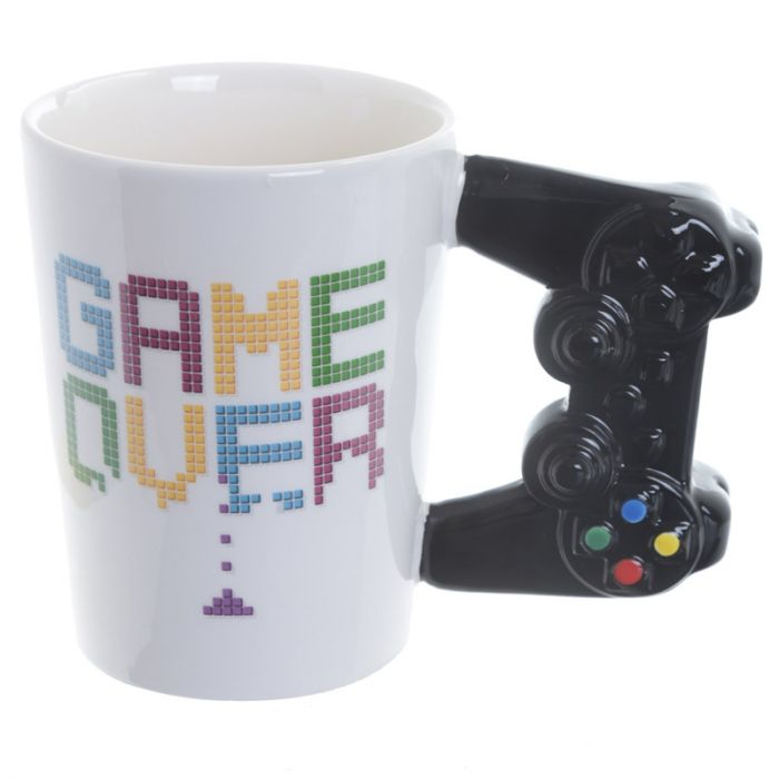 Game Over Ceramic Mug With Remote Control Shaped Handle