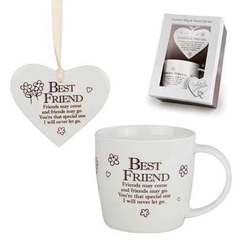 Said With Sentiment Best Friends Mug and Hanging Heart Gift Set