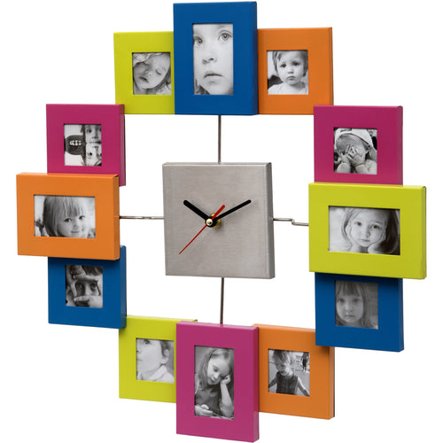 Multi Coloured Photo Frame Wall Clock
