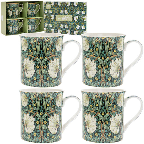 Set of 4 William Morris Pimpernel Fine China Mugs