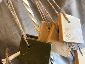 "Savon De Marseille French Soap on a Rope ""Tranche"" Traditional Olive Oil 72%"