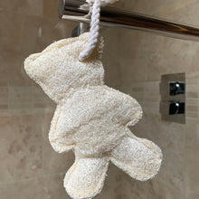 Load image into Gallery viewer, Loofah Teddy Bear on a rope body scrub