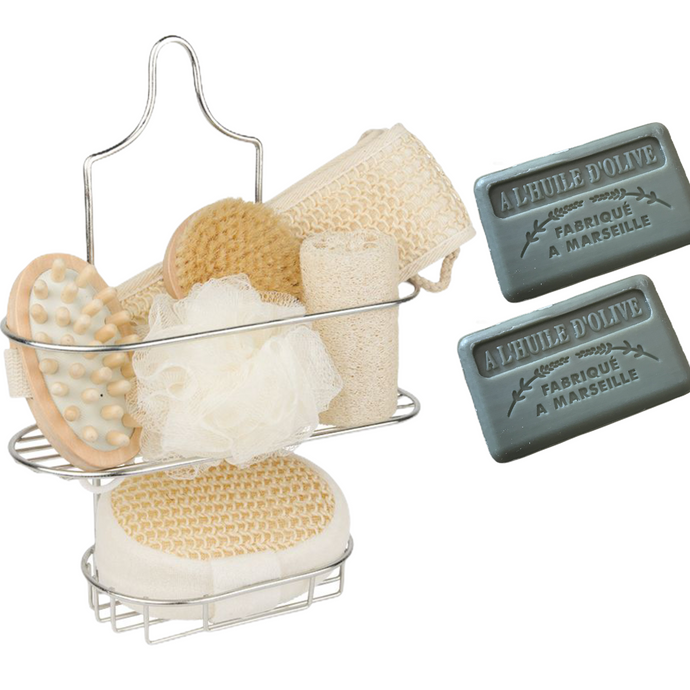 shower rack with olive oil soaps