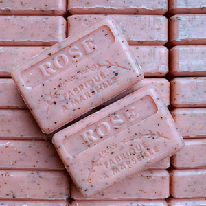 french rose soap exfoliator
