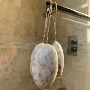 lavender exfoliator soap on a rope