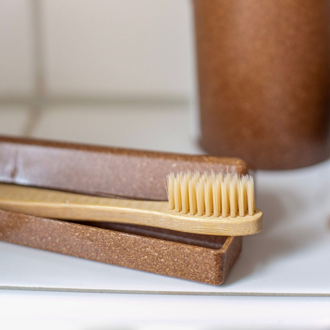 toothbrush and liquid wood travel case combo
