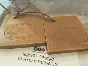 "Savon De Marseille French Soap on a Rope ""Tranche"" Traditional Vegetable Oil 72%"
